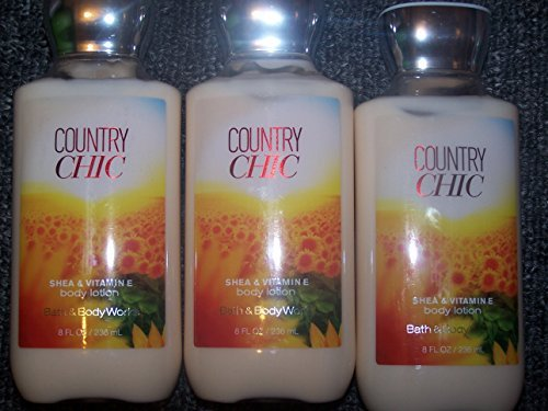 Lot of 3 Bath & Body Works Country Chic Shea & Vitamin E Body Lotion 8 Fl Oz Each (Country Chic)