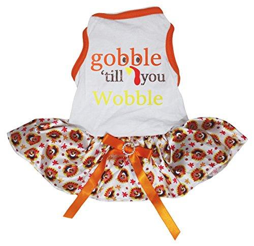 (Petitebella Gobble Til You Wobble White Shirt Turkey Dots Tutu Puppy Dog Dress)