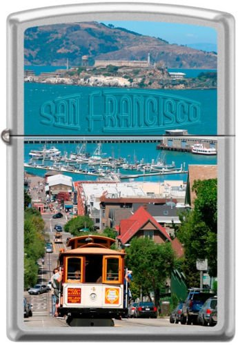 (Zippo San Fransisco City Cable Car Scene Alcatraz Lighter RARE)