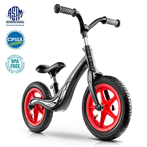 Lauraland Magnesium Alloy Balance Bike, Racing style, 12″ Push Bike with Rubber Pneumatic Tires for Ages 18 Months to 5 Years, The First Bike in Life, The Best Birthday Gift, Black