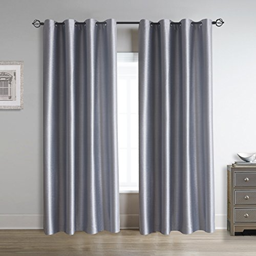 Cherry Home Soild Blackout Window Panels Drapes Grommet Curtains For Living  Room,Beding Room,Restaurant,Hotel,Office 52W×63L Inch Sliver Gray,Set Of 2