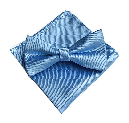 Men's Light Blue Silk Solid Pre-Tied Bow Tie & Hanky Card Set - Various ()