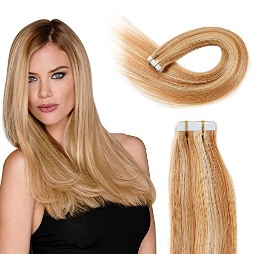 Tape in Hair Extensions Human Hair 20 inch 50g/pack 20pcs Seamless Skin Weft Remy Straight Hair P27/613# Strawberry Blonde