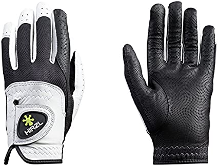 HIRZL Trust Control Golf Glove Mens Textured Palm Kangaroo Leather Black/White best golf gloves