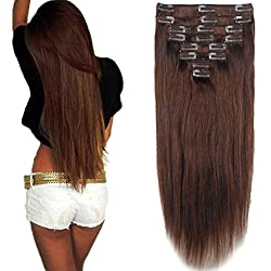 8 Pcs Set Medium Brown Double Weft Thick Clip in 100% Remy Human Hair Extensions
