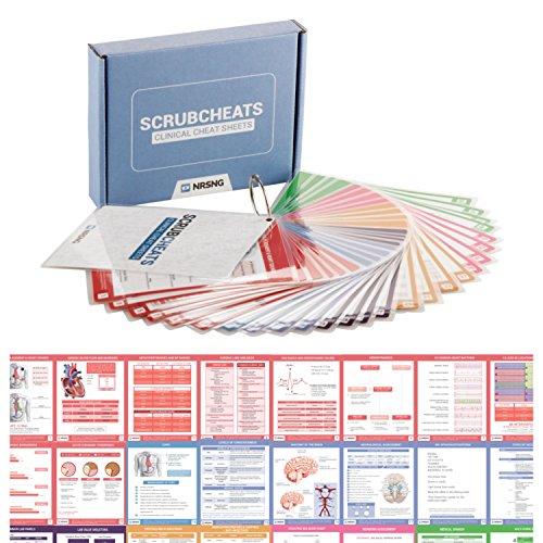 NRSNG Nursing School Supplies Kit (Scrubcheats, Nursing Clipboard, Books 140 Must Know Meds, 63 Lab Values, Nursing Mnemonics, Nursing Report Sheet Pack) Kit Gift for Nursing Students by NRSNG