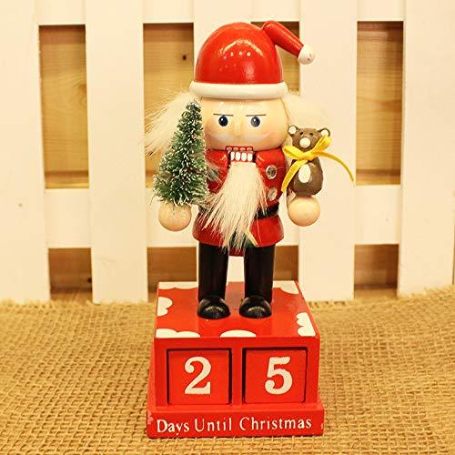 (MepLife Desktop Perpetual Calendar Blocks Countdown for Front Desk Decoration DIY Date Wood Craft Santa Claus Snowman Calendar,Christmas Walnut Soldier Calendar 2019 Christmas Advent (Santa Claus))