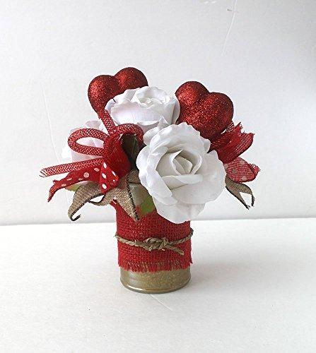 Small Valentine Flower Arrangement, burlap, floral arrangement, gift for her, Valentine's Day decoration, home decor. gift ()
