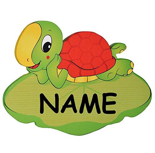 Türschild / Namensschild / Wandbild - aus Holz - Schildkröte incl. Namen - Schild selbstklebend - für Kinderzimmer / oder Haustier Hundehütte - Tiere für Kinder Tier - Wandtattoo Bilder Namensschilder