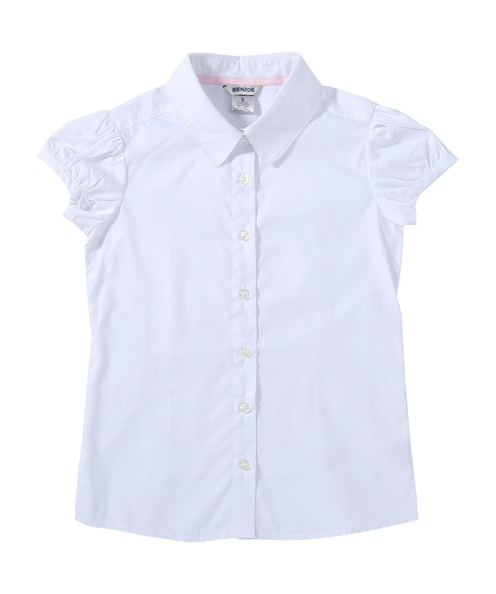 Bienzoe Big Girl's School Uniforms Oxford Short Puff Sleeve Blouse White S