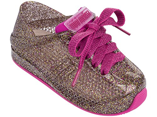 Mini Melissa Kids' Mini Love System Sneaker,Glass Pink Glitter,9 Regular US Toddler