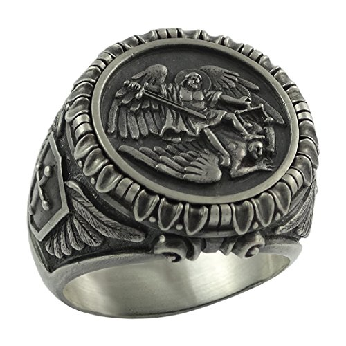 Saint St. Michael the Archangel Sterling Silver 925 mens Ring Handcrafted