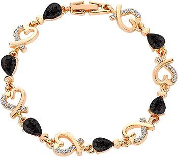 WEUIE Charm Bracelets Crystal Rhinestone Heart Bracelet