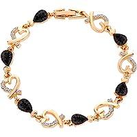 WEUIE Charm Bracelets Crystal Rhinestone Heart Bracelet for Women,Birthday Anniversary Valentine's Day Jewelry Gifts