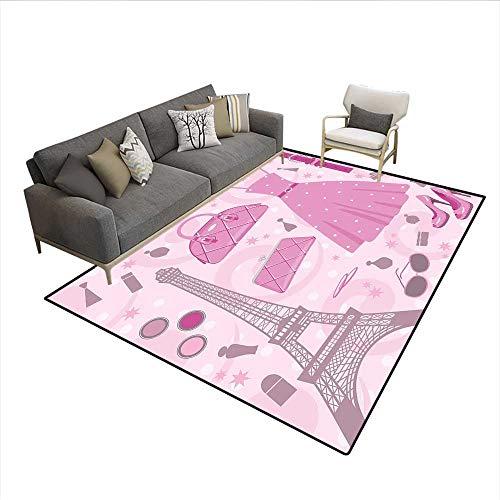 Carpet,Paris Fashion Atelier French Boutique Feminine Glamor Eiffel,Area Silky Smooth Rugs,Baby Pink Mauve Magenta 5'x6' ()