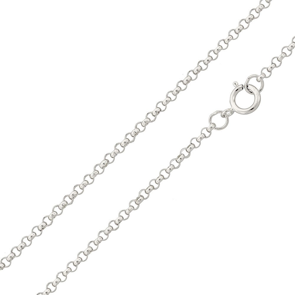 Princess Kylie Rhodium Plated Sterling Silver Rounded Rolo 030 Chain 2.1mm