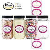 jar coin lid - 8 Ounce Tall Clear Empty Plastic Jars with Screw-on Lids & Labels - BPA Free Airtight Leak Proof Containers - Food Grade Refillable Holder - Ideal for Kitchen Storage, Candy, Crafts, Beauty & Cosmetic