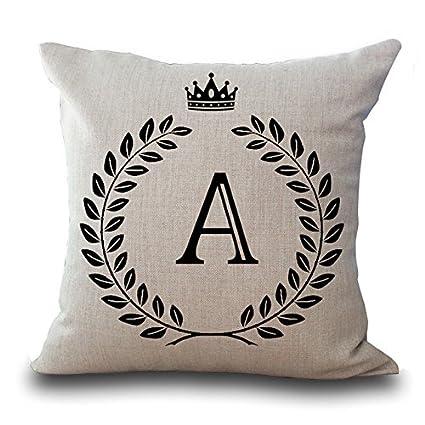 Amazon Monogram A Pillow Cotton Linen Decorative Throw Pillow Awesome Monogrammed Decorative Throw Pillows