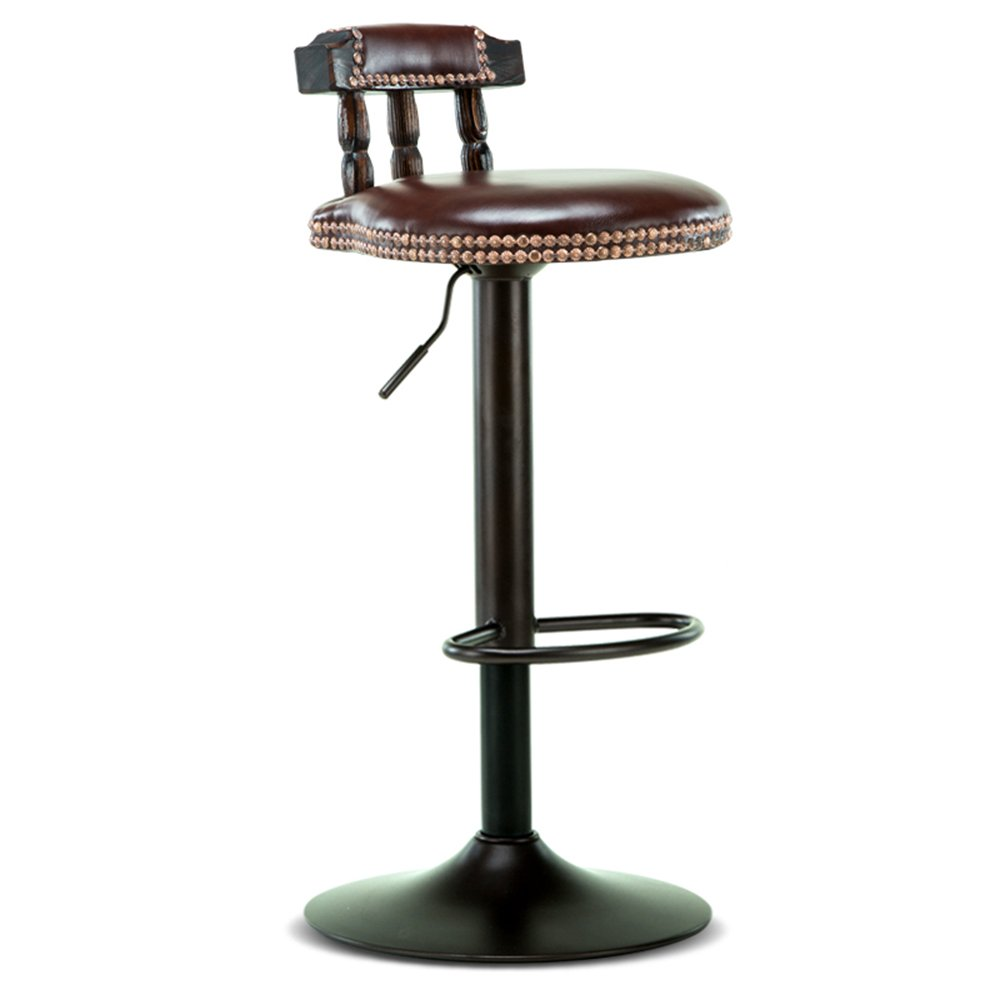 Solid wood bar chair / lift rotation bar stool / retro front desk high stool / PU leather chair, paint accessories ( Color : C )
