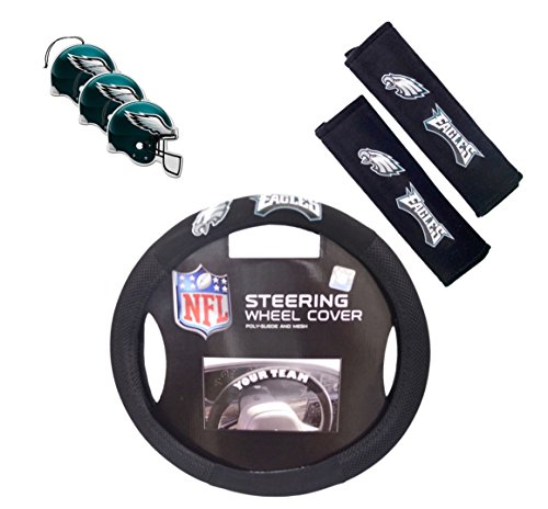 Official National Football League Fan Shop Authentic Auto Accessories Bundle (Philadelphia Eagles) (Eagles Truck Seat Covers)