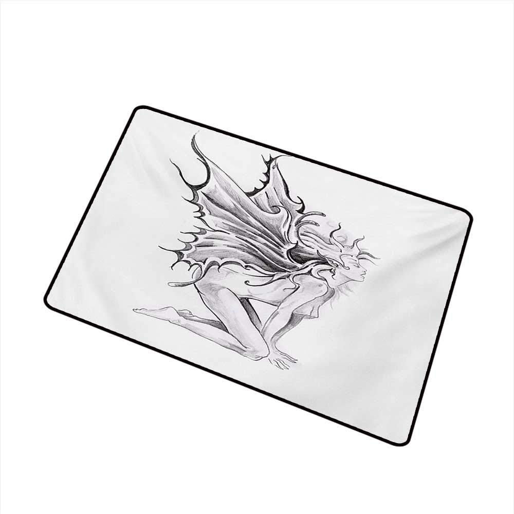 Amazon com duommhome waterproof door mat tattoo artistic pencil drawing artwork print nude fairy opening its angel wings print w35 xl47 easy to clean