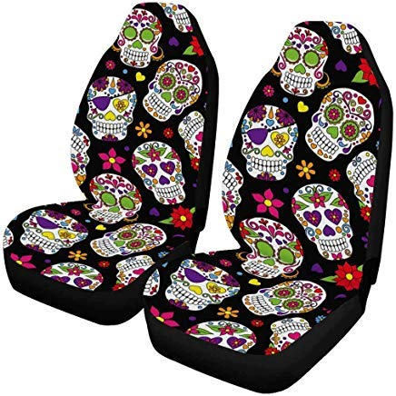 INTERESTPRINT Day of The Dead Sugar Skull Front Seat Covers 2 pc, Car Front Seat Cushion Fit Car, Truck, SUV or Van...