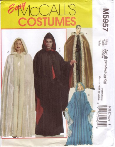 McCall's Easy Sewing Pattern M5957 Adult Renaissance Cape / Cloak with (Easy Renaissance Costumes)