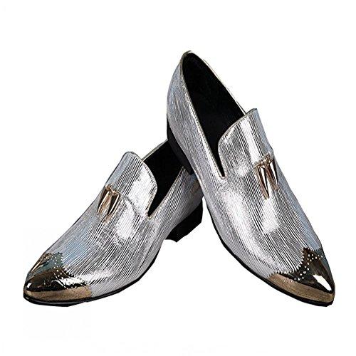 Jinfu Hommes Mocassins En Cuir Pantoufles Avec Boucle Dor Robe De Mariée Chaussures Slip-on Flats Chaussures (us 7.5)