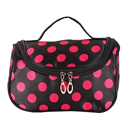 Women Lady Makeup Cosmetic Case Toiletry Bag Zebra Travel Handbag Organizer New (Black & Red Dot) -