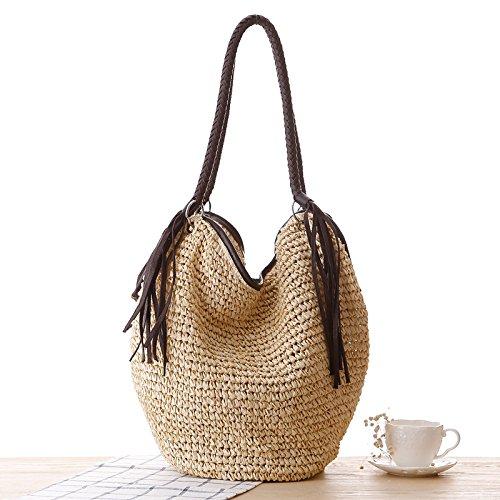 Handbag Bag Bag Tassels Bag Lining Straw Women Handle Beach Bag Tote Hobo Bucket Summer Top Beige Cotton Shoulder Shopper nq8qYTZp