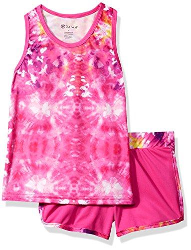 Gaiam Little Girls' Tank and Short Set, Hot Pink Tie Dye,...
