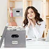 Beautiful File Box Organizer Set of 2 - Collapsible Linen File Cabinet for Easy File Folder Storage - Store All Your Documents and File Folders in Style