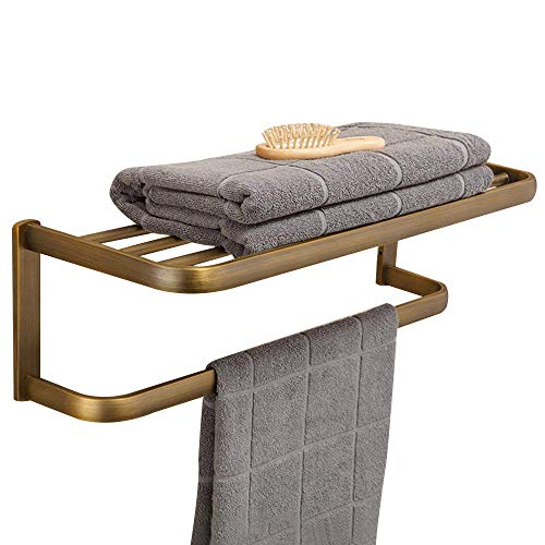 Leyden Retro Bathroom Accessories Solid Brass Antique Brass Finished Bathroom Shelves Space Saver Shelf Wall maounted ()