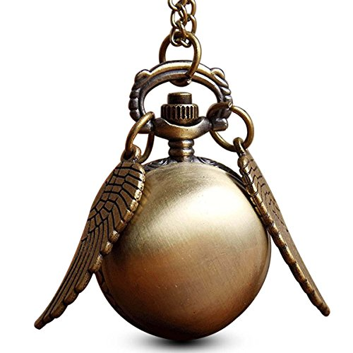 (GORBEN Ball Wings Snitch Pocket Watches Quartz Movement Pendant Pocket Watch Gift Bag)
