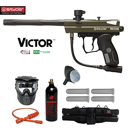 Spyder Victor Silver Paintball Gun Package - Olive Green