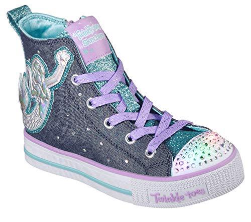 - Skechers Kids Girls' Twinkle LITE-Magnificent MERM Sneaker, Denim/Multi, 3.5 Medium US Big Kid