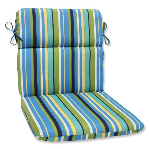 Pillow Perfect Outdoor Topanga Stripe Lagoon Rounded Corners Chair Cushion