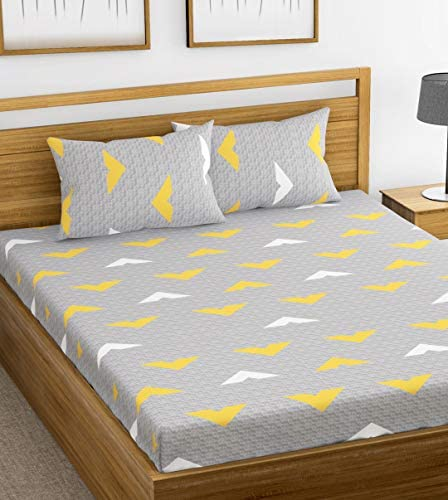 f5c8baab6d2 Ahmedabad Cotton 144 TC Cotton Double Bedsheet with 2 Pillow Covers - Grey  and Yellow