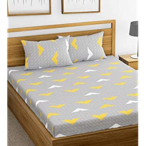HUESLAND by Ahmedabad Cotton 144 TC Cotton Double Bedsheet with 2 Pillow Covers – Grey and Yellow