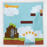 59 x 59 Inches Video Games Fleece Throw Blanket Retro Arcade World Kids 90s Fun Theme Knight with Sword Fireball Bonus Stars Coins Blanket