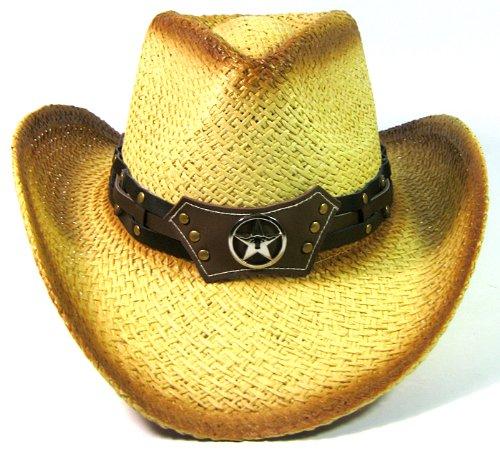 Cowboy Western Straw Hat Fashion - Brown Band & Longhorn & Lone Star (Robin Hood Pattern Hat)