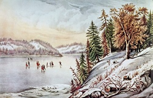 Canadian Winter Scene Currier & Ives (1834-1907 American) Lithograph Poster Print (24 x (Currier Ives Winter Scenes)