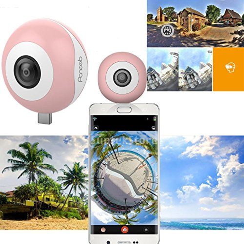 Dovewill Dual 210° Fisheye Lens HD VR Camera for Android Phone Live Seamless Stitching Pink by Dovewill (Image #2)