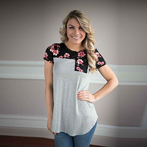 Covermason Mujeres Floral empalme Impresión Pull-over Blusa Decoración Bolsillo Cuello redondo Camiseta Gris