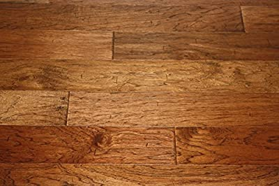 "Elk Mountain Hickory Leather 7/16"" x 4-3/4"" Hand Scraped Engineered Click Lock Hardwood Flooring AH267 SAMPLE"
