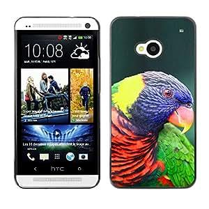Loro Pájaro púrpura colorido Ornitología- Metal de aluminio y de plástico duro Caja del teléfono - Negro - HTC One M7