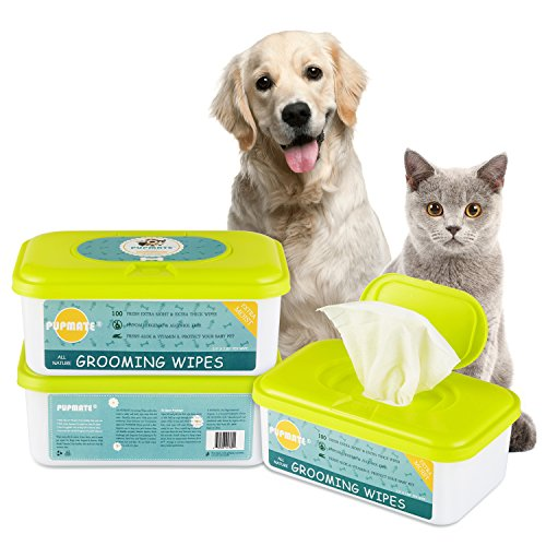 PUPMATE Pet Wipes Dogs & Cats, Extra Moist & Thick Grooming Puppy Wipes 100 Deodorizing Hypoallergenic Fresh Counts, Aloe Vera/Nature (1 Pack)