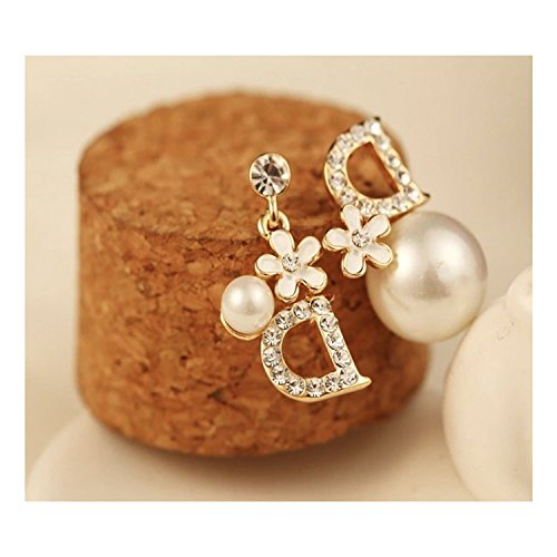 - Women's Fashion Korean Style Earring Letter D Unblance Design Stainless Steel (White)