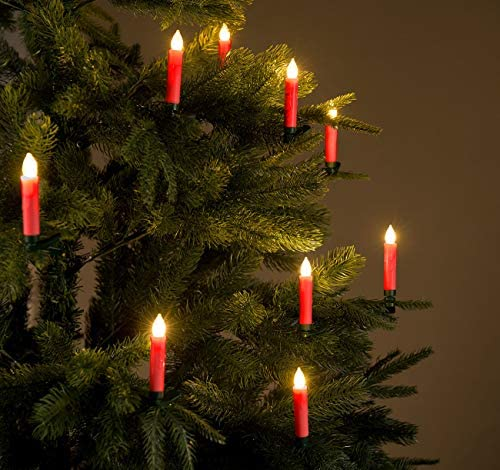 Lunartec Christbaumkerzen Funk: FUNK-Weihnachtsbaum-LED-Kerzen mit Fernbedienung, 30er-Set, rot (Weihnachtsbaumkerzen Funk)