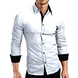 Men's Shirt, HOT SALE !! Farjing Men's Autumn Casual Formal Solid Slim Fit Long Sleeve Shirt Top Blouse(XL,White)